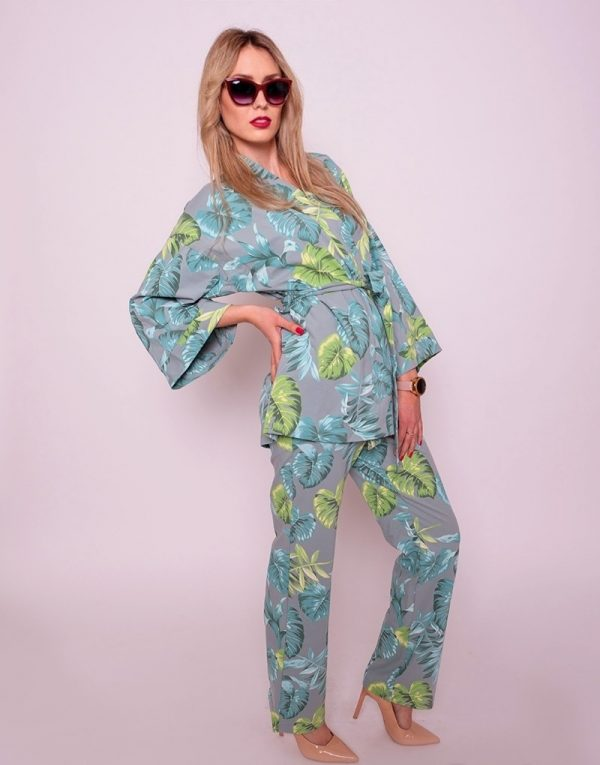 kimono s listami zelené mineral